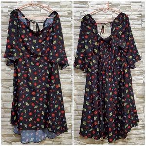 Eloquii Off The Shoulder Black Floral Dress Sz 24